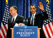 Washington, DC - January 8, 2009 -- United States President-elect Barack Obama (R) waves as he leaves a press conference with Virginia Governor Tim Kaine, after announcing Kaine as the new Chairman of the Democratic National Committee in Washington on Thursday, January 8, 2009..Credit: Kevin Dietsch - Pool via CNP