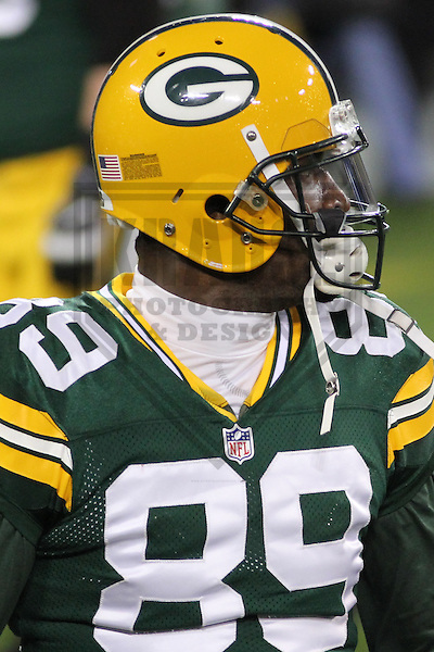 GREEN BAY - November 2013: James Jones (89) of the Green Bay Packers prior to a game against the Chicago Bears on November 4, 2013 at Lambeau Field in Green Bay, Wisconsin. (Photo by Brad Krause)