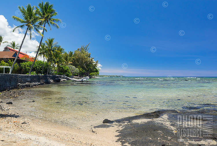 A sunny morning with blue skies and clear water in Puako, Big Island of Hawai'i.