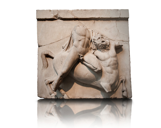 Sculpture of Lapiths and  Centaurs battling from the Metope of the Parthenon on the Acropolis of Athens. South Metope no II. Also known as the Elgin marbles. British Museum London. The Lapith holds a Centaur by the throat. The diagnal of the Lapiths body across the Centaur is often used in Greek Classical art to depict strife.