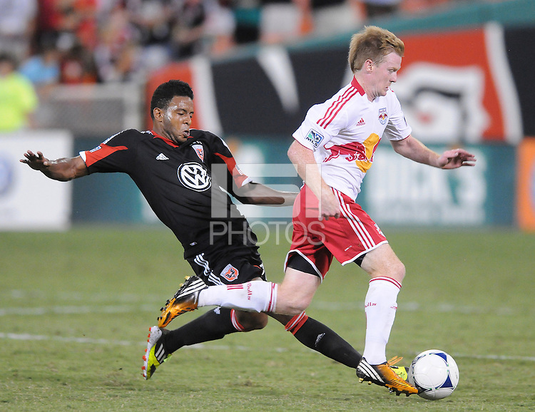 D.C. United forward Lionard Pajoy (16) goes against New York Red Bulls midfielder Dax McCarty (11)  The New York Red Bulls tied D.C. United 2-2 at RFK Stadium, Wednesday August 29, 2012.