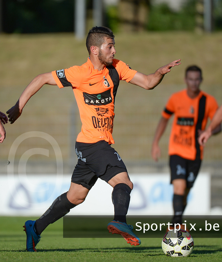 20150710 - DEINZE , BELGIUM : Deinze's Ilias El Yazidi pictured during a friendly match between Belgian first division team KV Kortrijk and Belgian second division soccer team SK Deinze , during the preparations for the 2015-2016 season, Friday 10th July 2015 in Deinze . PHOTO DAVID CATRY