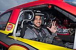 Wake Forest Demon Deacons linebacker Demetrius Kemp prepares to take a ride in a NASCAR race car as part of the 2017 Belk Bowl festivities at the Charlotte Motor Speedway on December 26, 2017 in Concord, North Carolina.  (Brian Westerholt/Sports On Film)