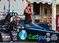 Aug 18, 2017; Brainerd, MN, USA; Ashley Fye , crew chief for NHRA top fuel driver Scott Palmer during qualifying for the Lucas Oil Nationals at Brainerd International Raceway. Mandatory Credit: Mark J. Rebilas-USA TODAY Sports
