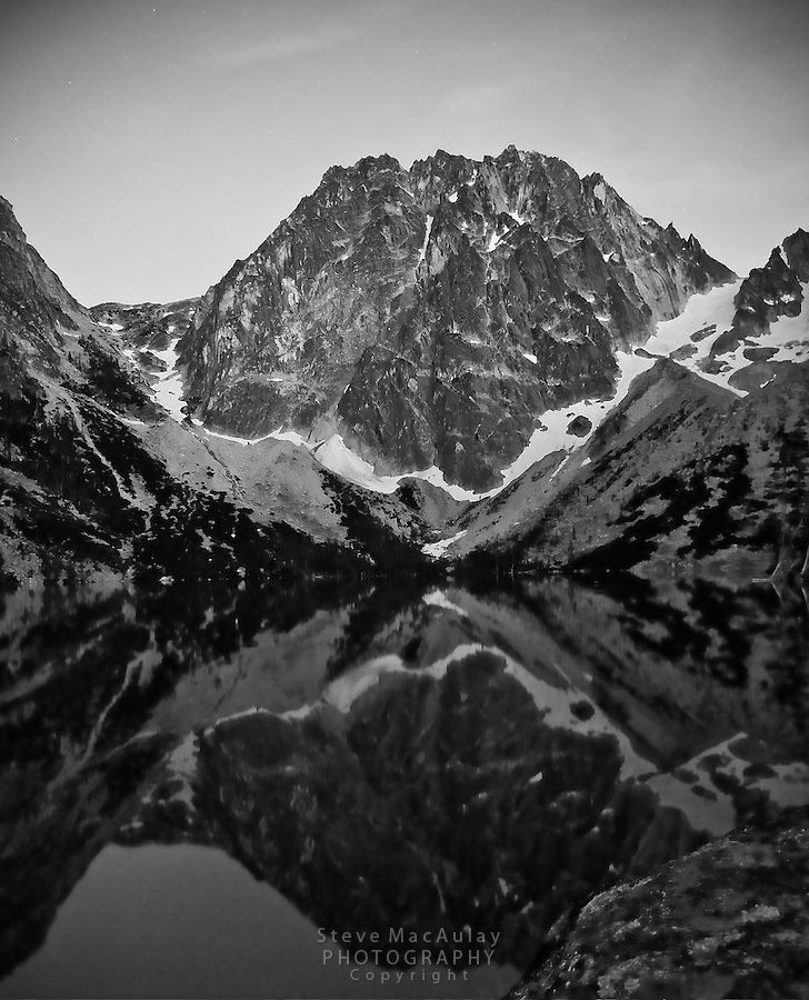 Long, night time exposure of Dragontail Peak, and Colchuck Lake.  Alpine Lakes Wilderness, WA.