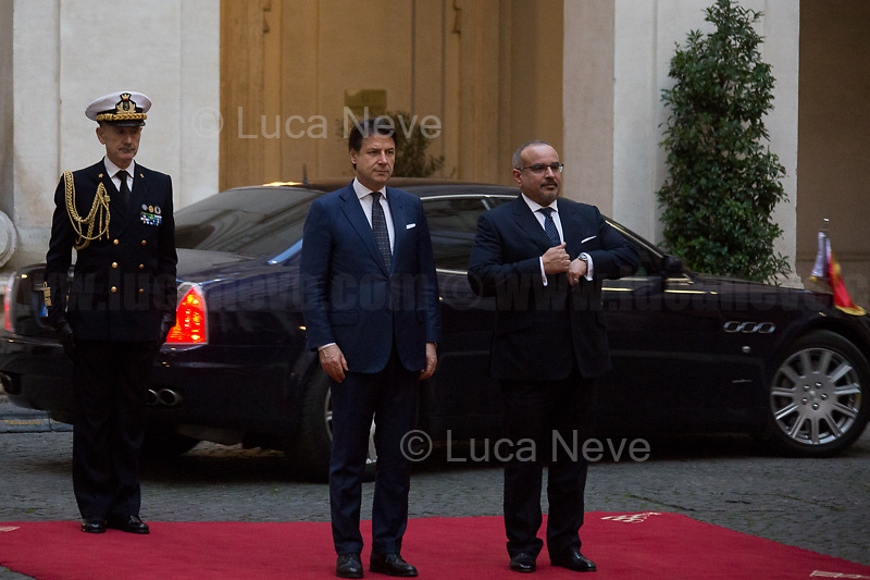 Rome, 03/02/2020. Today, Prince Salmān bin Ḥamad Āl Khalīfa, Deputy King, Crown Prince, first deputy prime minister of the Kingdom of Bahrain, and deputy supreme commander of the Bahrain Defense Force, visited Palazzo Chigi where he met with the Italian Prime Minister Giuseppe Conte.