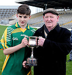 XXJOB 18-11-2015: Patrick Darcy accepts the cup after St. Brendan's College won the Munster u-15 footbal final in Killarney on wednesday.<br /> Picture by Don MacMonagle