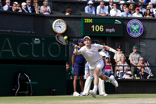 10.07.2015.  Wimbledon, England. The Wimbledon Tennis Championships.  Gentlemens Singles Semi-Final match between third seed Andy Murray (GBR) and second seed Roger Federer (SUI).  Andy Murray in action