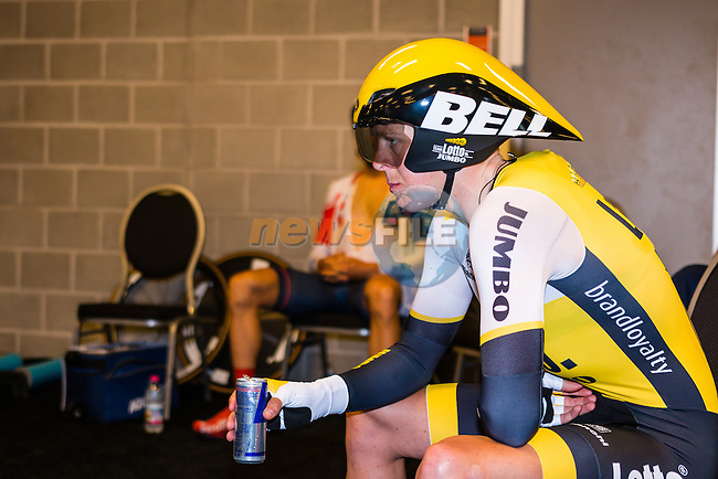 Rider of Team Lotto NL - Jumbo (NED) before the start at velodrome Omnisport, stage 1 (ITT) from Apeldoorn to Apeldoorn running 9,8 km of the 99th Giro d'Italia (UCI WorldTour), The Netherlands, 6 May 2016. Photo by Pim Nijland / PelotonPhotos.com | All photos usage must carry mandatory copyright credit ( Peloton Photos | Pim Nijland)