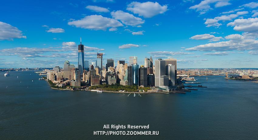 South part of Manhattan and Brooklyn bridge aerial panorama, New York