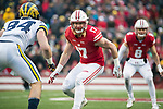 Wisconsin Badgers linebacker Andrew Van Ginkel (17) drops into pass coverage during an NCAA College Big Ten Conference football game against the Michigan Wolverines Saturday, November 18, 2017, in Madison, Wis. The Badgers won 24-10. (Photo by David Stluka)