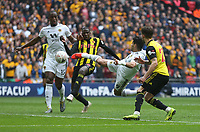 Wolverhampton Wanderers' Raul Jimenez scores his side's second goal <br /> <br /> Photographer Rob Newell/CameraSport<br /> <br /> Emirates FA Cup Semi-Final  - Watford v Wolverhampton Wanderers - Sunday 7th April 2019 - Wembley Stadium - London<br />  <br /> World Copyright © 2019 CameraSport. All rights reserved. 43 Linden Ave. Countesthorpe. Leicester. England. LE8 5PG - Tel: +44 (0) 116 277 4147 - admin@camerasport.com - www.camerasport.com