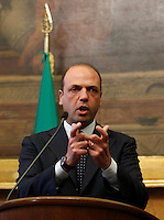 Il segretario del Popolo della Liberta' Angelino Alfano parla alla stampa al termine delle consultazioni col Presidente del Consiglio incaricato sulla formazione del nuovo governo, alla Camera, Roma, 25 aprile 2013..People of Freedom party's secretary Angelino Alfano meets press at the end of his talks with the Italian Premier designate on the formation of the new government, in Rome, 25 April 2013..UPDATE IMAGES PRESS/Isabella Bonotto