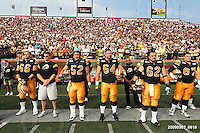 September 7, 2009; Hamilton, ON, CAN; Hamilton Tiger-Cats offensive lineman Alexandre Gauthier (66) offensive lineman George Hudson (52) offensive lineman Dan Goodspeed (64) offensive lineman Marwan Hage (62) offensive lineman Peter Dyakowski (67). CFL football - the Labour Day Classic - Toronto Argonauts vs. Hamilton Tiger-Cats at Ivor Wynne Stadium. The Tiger-Cats defeated the Argos 34-15. Mandatory Credit: Ron Scheffler.