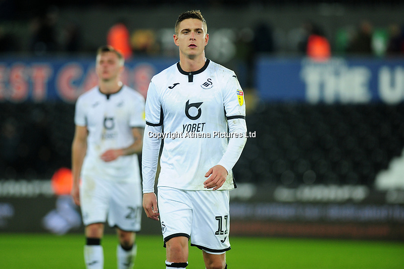 Kristoffer Peterson of Swansea City during the Sky Bet Championship match between Swansea City and Millwall at the Liberty Stadium in Swansea, Wales, UK. Saturday 23rd November 2019