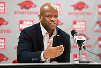 NWA Democrat-Gazette/CHARLIE KAIJO Arkansas Razorbacks head coach Mike Anderson fields questions during a media conference after the NCAA selection show, Sunday, March 11, 2018 at Bud Walton Arena in Fayetteville. The Razorbacks will play Butler in Detroit on Friday