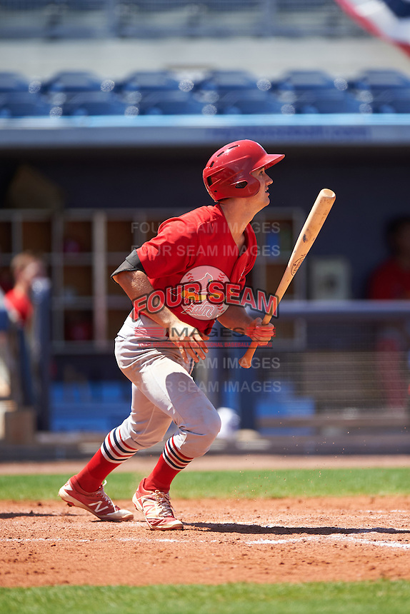Palm Beach Cardinals first baseman Danny Diekroeger (3) at bat during a game against the Charlotte Stone Crabs on April 10, 2016 at Charlotte Sports Park in Port Charlotte, Florida.  Palm Beach defeated Charlotte 4-1.  (Mike Janes/Four Seam Images)
