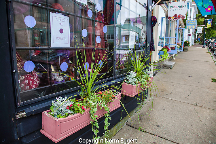 Flower boxes along the sidewalk in Rockport