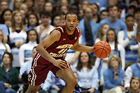 CHAPEL HILL, NC - FEBRUARY 1: Steffon Mitchell #41 of Boston College dribbles the ball during a game between Boston College and North Carolina at Dean E. Smith Center on February 1, 2020 in Chapel Hill, North Carolina.
