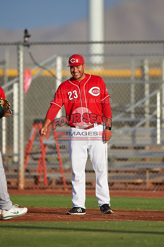 AZL Reds coach Donald Lutz (23) during an Arizona League game against the AZL Athletics Green on July 21, 2019 at the Cincinnati Reds Spring Training Complex in Goodyear, Arizona. The AZL Reds defeated the AZL Athletics Green 8-6. (Zachary Lucy/Four Seam Images)
