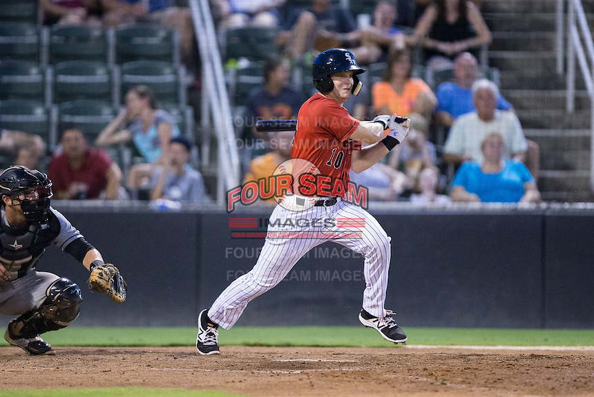 Jake Fincher (10) of the Kannapolis Intimidators follows through on his swing against the West Virginia Power at Kannapolis Intimidators Stadium on August 20, 2016 in Kannapolis, North Carolina.  The Intimidators defeated the Power 4-0.  (Brian Westerholt/Four Seam Images)