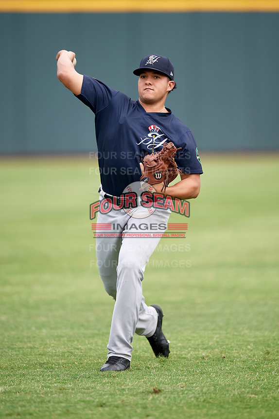 Pulaski Yankees pitcher Wellington Caceres (29) warms up before a game against the Greeneville Reds on July 27, 2018 at Pioneer Park in Tusculum, Tennessee.  Greeneville defeated Pulaski 3-2.  (Mike Janes/Four Seam Images)