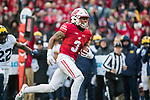 Wisconsin Badgers wide receiver Kendric Pryor (3) gains yardage after a reception during an NCAA College Big Ten Conference football game against the Michigan Wolverines Saturday, November 18, 2017, in Madison, Wis. The Badgers won 24-10. (Photo by David Stluka)