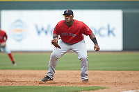 Salem Red Sox first baseman Jerry Downs (30) on defense against the Winston-Salem Dash at BB&T Ballpark on April 22, 2018 in Winston-Salem, North Carolina.  The Red Sox defeated the Dash 6-4 in 10 innings.  (Brian Westerholt/Four Seam Images)