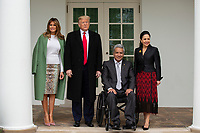 United States President Donald J. Trump, left center, and First lady Melania Trump, left, stand for a photo with the President of Ecuador Lenín Moreno , right center, and his wife Rocio Gonzales De Moreno outside the White House in Washington D.C., U.S. on Wednesday, February 12, 2020.  <br /> <br /> Credit: Stefani Reynolds / CNP/AdMedia