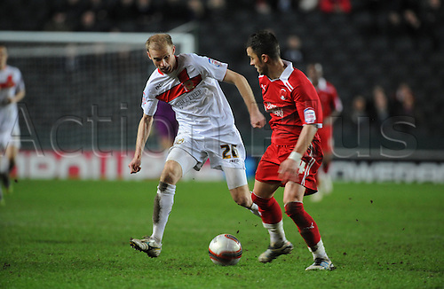 20.03.2012 Milton Keynes, England. Milton Keynes Dons versus Leyton Orient. Luke Chadwick (MK Dons) Midfielder in action during the NPower League 1 game played at Stadium MK.