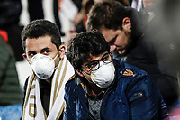 1st March 2020; Estadio Santiago Bernabeu, Madrid, Spain; La Liga Football, Real Madrid versus FC Barcelona; Fans wearing masks to fend off possible Corona virus infection