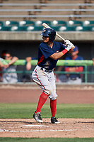 Potomac Nationals center fielder Blake Perkins (22) at bat during the first game of a doubleheader against the Lynchburg Hillcats on June 9, 2018 at Calvin Falwell Field in Lynchburg, Virginia.  Lynchburg defeated Potomac 5-3.  (Mike Janes/Four Seam Images)