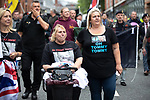 """© Joel Goodman - 07973 332324 . 02/06/2018. Manchester, UK. DFLA supporters wearing """" OH TOMMY TOMMY """" t-shirts in reference to jailed EDL founder Tommy Robinson . The Democratic Football Lads Alliance demonstrate at Castlefield Bowl in Manchester , eleven days after the first anniversary of the Manchester Arena terror attack . Photo credit : Joel Goodman"""