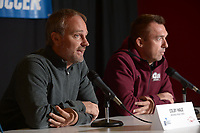 NWA Democrat-Gazette/ANDY SHUPE<br /> Arkansas soccer coach Colby Hale (left) speaks Thursday, Nov. 8, 2018, alongside Little Rock soccer coach Mark Foster during a press conference in Bud Walton Arena ahead of today's NCAA Women's Soccer Tournament first-round game.