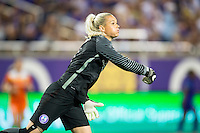 Orlando, Florida - Saturday, April 23, 2016: Orlando Pride goalkeeper Ashlyn Harris (1) throws the ball to start the counter attack during an NWSL match between Orlando Pride and Houston Dash at the Orlando Citrus Bowl.