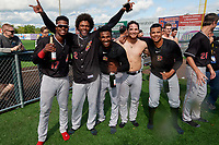 Batavia Muckdogs (L-R) Dalvy Rosario, Ronal Reynoso, Edison Suriel, Andres Sthormes, and Jonaiker Villalobos celebrate after clinching the Pinckney Division Title during a NY-Penn League game against the Auburn Doubledays on September 2, 2019 at Falcon Park in Auburn, New York.  Batavia defeated Auburn 7-0 to clinch the Pinckney Division Title.  (Mike Janes/Four Seam Images)