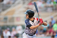 Luis Gonzalez (6) of the Kannapolis Intimidators at bat against the Delmarva Shorebirds at Kannapolis Intimidators Stadium on July 3, 2017 in Kannapolis, North Carolina.  The Shorebirds defeated the Intimidators 5-2.  (Brian Westerholt/Four Seam Images)