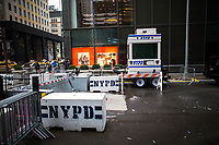 NEW YORK, NY - APRIL 4: A NYPD officers stand guard in a booth at 56 street around Trump Tower Where United States First Lady Melania Trump is living on April 4, 2017 in Manhattan, New York. Police Commissioner James O'Neill told lawmakers in February it costs the NYPD between $127,000 and $146,000 a day to protect the first lady and her 11-year-old son Barron. When the president is in town, the city pays more than $308,000.  Photo by VIEWpress/Eduardo MunozAlvarez