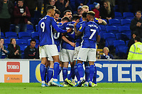 Marlon Pack of Cardiff City celebrates scoring his side's second goal during the Sky Bet Championship match between Cardiff City and Queens Park Rangers at the Cardiff City Stadium in Cardiff, Wales, UK. Wednesday 02 October, 2019