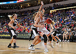 SIOUX FALLS, SD: MARCH 5: Ciara Duffy #24 from the University of South Dakota drives to the basket against Nebraska Omaha during the Summit League Basketball Championship on March 5, 2017 at the Denny Sanford Premier Center in Sioux Falls, SD. (Photo by Dave Eggen/Inertia)