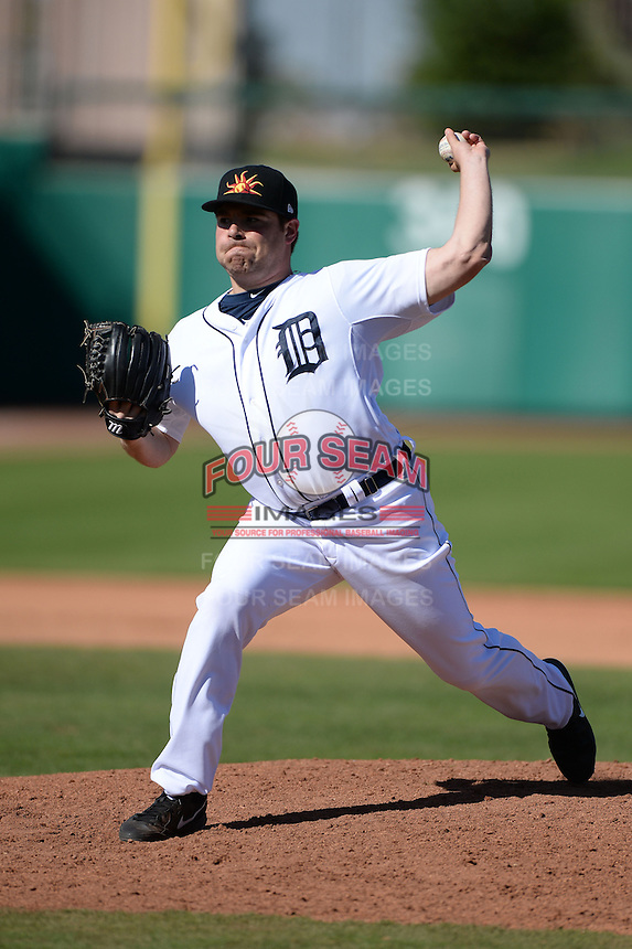 Mesa Solar Sox pitcher Kenny Faulk (43), of the Detroit Tigers organization, during an Arizona Fall League game against the Scottsdale Scorpions on October 15, 2013 at HoHoKam Park in Mesa, Arizona.  Mesa defeated Scottsdale 7-4.  (Mike Janes/Four Seam Images)