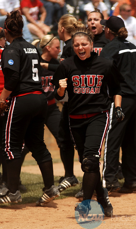 21 MAY 2007:  Southern Illinois University-Edwardsville softball players celebrate their team taking a one run lead in the top of twelfth inning during the Division II Women's Softball Championship game at Firestone Stadium in Akron, OH.  Southern Illinois University-Edwardsville defeated Lock Haven University 3-2 in twelve innings for the national title.  Tim Harrison/NCAA Photos