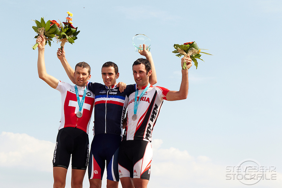 Mens Podium , Julien Absalon, Christof Sauser , Karl Markt London Prepares Mountain Bike Olympic Test Event , Hadleigh Farm , Essex , July 2011 pic copyright Steve Behr / Stockfile