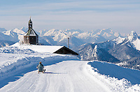Germany, Bavaria, Upper Bavaria, Tegernseer Valley, Holy Cross Church at Wallberg mountain, view into Bavarian and Austrian Alps, Germany's longest winter toboggan run 6.5 km