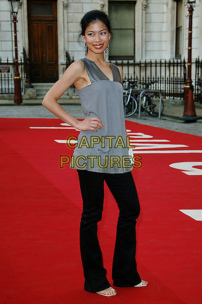 VANESSA MAE.attends The Royal Academy of Arts Summer Exhibition at Royal Academy of Arts in London, England, UK, .June 4, 2008..full length hand on hip black trousers grey top green stone dangly earrings.CAP/DAR.©Darwin/Capital Pictures