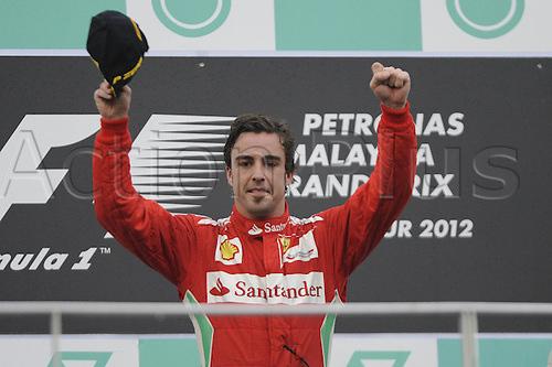 25.03.2012. Kuala Lumpur Malaysia. Formula 1 GP Malaysia in Kuala Lumpur. Winner Fernando Alonso ESP Ferrari at the Award Ceremony