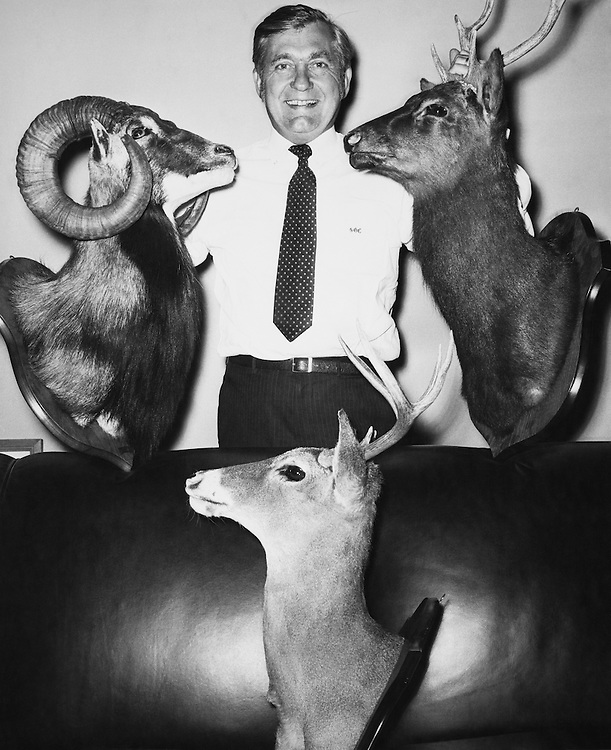 Rep. Silvio Ottavio Conte, R- Mass., House of Representatives Member, holding a taxidermy deer. (Photo by CQ Roll Call)