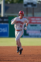 Auburn Doubledays Jack Dunn (15) rounds the bases after hitting a home run during a NY-Penn League game against the Batavia Muckdogs on June 18, 2019 at Dwyer Stadium in Batavia, New York.  Batavia defeated Auburn 7-5.  (Mike Janes/Four Seam Images)