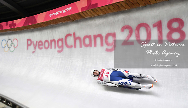 Namkyu Lim (KOR). Mens luge. Pyeongchang2018 winter Olympics. Alpensia sliding centre. Alpensia. Gangneung. Republic of Korea. 11/02/2018. ~ MANDATORY CREDIT Garry Bowden/SIPPA - NO UNAUTHORISED USE - +44 7837 394578