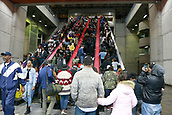 3rd February 2019, Atlanta Georgia, USA; NFL Superbowl LIII, New Eng;land Patriots versus Los Angeles Rams;  Crowds fill the MARTA rail station close to Mercedes-Benz Stadium during Super Bowl LIII day on February 3rd, 2019 in Atlanta GA.